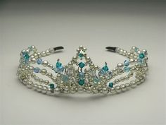 Exclusive Princess Florina tiara, hand crafted by a famous Japanese artist. This refined silver crown can be used for multiple ballets and match tutus with silver decorations and blue color. The frame of this headpiece is silver and the stones pale blue. One size. Delivery time: 4 to 6 weeks Price: $ 200 + shipping