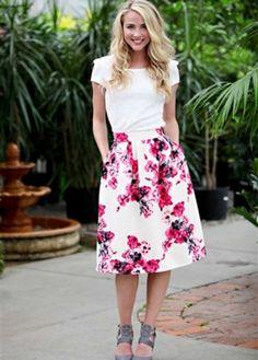 Watercolor Floral Skirt