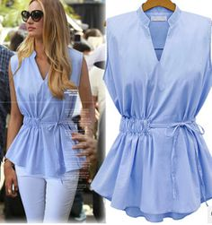 2016 New Summer Womens Blouses Fashion Style Sleeveless Chiffon Shirt V Collar Woman Blouses Shirts Solid Pleated Tops for Women Blouse Styles, Blouse Designs, Chiffon Shirt, Chiffon Blouses, Pleated Shirt, Sleeveless Shirt, Couture, Shirt Blouses, Blouses For Women