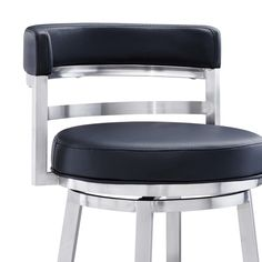 Orren Ellis Kenedy Swivel Bar & Counter Stool & Reviews | Wayfair Marble Dining Table Set, Dining Room Bar, Leather Stool, Counter Bar Stools, Best Dining, Brushed Stainless Steel, Bar Furniture, Black Faux Leather, Contemporary