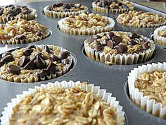 Baked oatmeal in a cupcake liner.  Great idea for one of our favorite breakfasts.