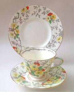 Tuscan China Vintage Hand Painted Art Deco Tea Set Tea Cup Trio