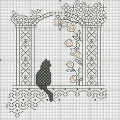 ru / Фото - кошки - Ka - Blackwork - Cross stitch Cat with vine; Motifs Blackwork, Blackwork Cross Stitch, Cross Stitch Charts, Cross Stitch Designs, Cross Stitching, Cross Stitch Patterns, Cat Embroidery, Blackwork Embroidery, Cross Stitch Embroidery