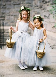 flowergirls in dusty blue