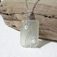 Seafoam Green Sea Glass Wire Wrapped Necklace English by JanJat