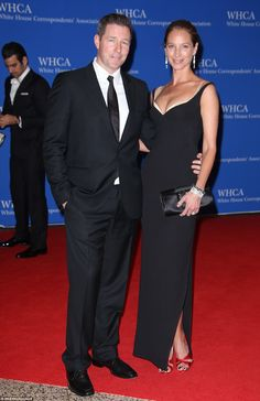 Ed Burns and Christy Turlington turned heads on the red carpet with the model dressed to the nines in a low-cut black dress with a white under-top