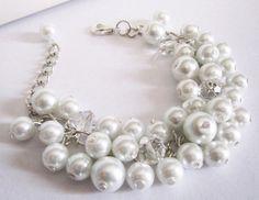 White Flower Girl Bracelet Flower Girl Gift by SLDesignsHBJ #bracelet #wedding #pearls #flower #flowergirls #beads