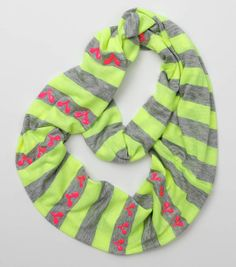 """Warm with Love"" Neon Heart Scarf from Joann.com"