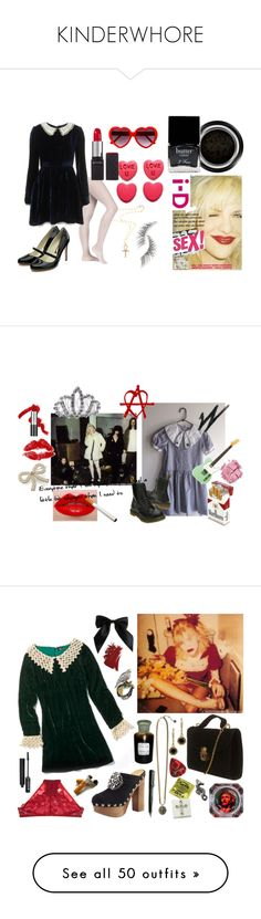 """""""KINDERWHORE"""" by grungewhore ❤ liked on Polyvore featuring Giorgio Armani, Butter London, Devon Page McCleary, Rupert Sanderson, Revlon, Beauty Is Life, courtney love, kinderwhore, hole and mary janes"""
