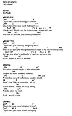 City of Stars ukulele chords credits to the ukulele teacher ‍
