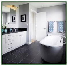 Excellent idea on Dark Bathroom Floor Tiles For Modern Bathroom With White Furnitures