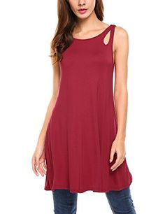 46d4ed7c9136 Meaneor Women s Swing Sleeveless Tunic Top Comfy Loose Round Hem Blouse at  Amazon Women s Clothing store