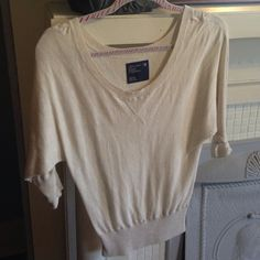 Short sleeve knit Oatmeal short sleeve knit American Eagle Outfitters Tops