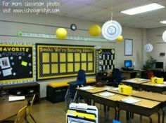 Yellow Classroom Decor : Black and yellow classroom decor made this with leftover fabric