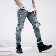 Cheap pants pants, Buy Quality vintage pants men directly from China slim fit men pants Suppliers: High Quality Mens Ripped Biker Jeans Slim Fit Motorcycle Jeans Men Vintage Distressed Denim Jeans Pants Ripped Biker Jeans, Jeans Slim, Ripped Skinny Jeans, Jeans Pants, Moto Jeans, Skinny Pants, Mode Rock, Motorcycle Jeans, Salopette Jeans