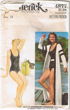 Modest 1-Piece Swimsuit with Scoop Neck & Long Robe Coverup. From my vintage collection. Available for sale in my ebay store.