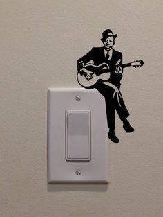 Jazz Blues Guitarist On Light Switch 5x3 by DecalPhanatics