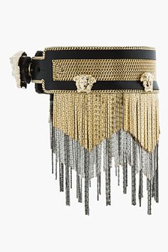 VERSACE Gold Metal tesseled And Goat Leather Bracelet