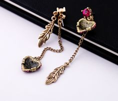 Prismatic Gold Alloy Dangle Earrings With Shiny Artificial Gemstones $8.98