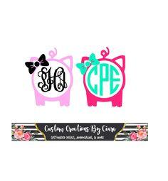 Pig Monogram Decal With Bow |  Pig monogram decal | show pig monogram decal | Piggy Monogram | Pig Car Decal | Vinyl Monogram | Bow Mongoram by CustomCreationsByCP on Etsy