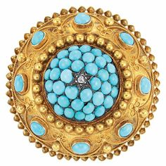 Antique Gold, Turquoise and Diamond Brooch. photo Doyles New York