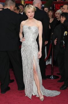 Renee Zellweger, 2006 There is a reason why Renee Zellweger rarely wears anything but Carolina Herrera on the red carpet. Her hand-embroidered silver dress showed just the right amount of leg for a sizzling starlet look.
