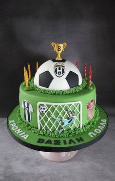 Football cake for a young boy who loves Ronaldo and Olympiacos. Ronaldo Birthday, Football Birthday Cake, Football Themed Cakes, Football Cakes For Boys, Soccer Cake, Caramel Icing, Sport Cakes, Savarin, Angel Cake