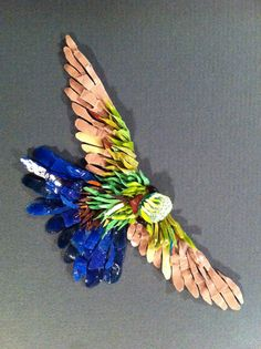 Amazilia Tobaci (Venezualan Hummingbird) 2013. Orsoni smalit, German glass eyes. Produced for the MAANZ Tesserae exhibition.