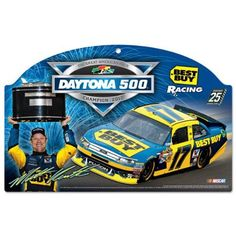 """Dale Earnhardt Jr. 2012 Daytona 500 Champion 11x17 Wood Sign by WinCraft. $31.99. Show your team pride with this real pressed wood sign. Features official logos and team colors Distressed design gives this sign an aged, vintage look. Terrific size. Measures 17"""" x 11"""" and approximately 1/4"""" thick. A matte finish laminate top is added for greater durability and a precision cut smooth edge makes this a great indoor decor sign Pre-drilled and ready to hang. Constructed of re..."""