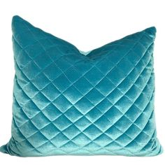 Teal Blue Velvet Pillow Cover, Quilted Fabric Pillow, Velvet Pillow, Glam Pillows, 16, 18 inches, 20 Inches