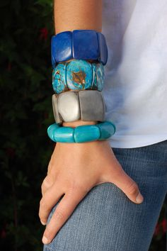 Andean Collection classic and polished tagua bracelets with a side of riverbed.  www.theandeancollection.com