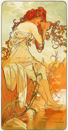 Cropped print of four panels each depicting one of the four seasons personified by a woman by Alphonse Mucha. Art Nouveau (Modern). allegorical painting