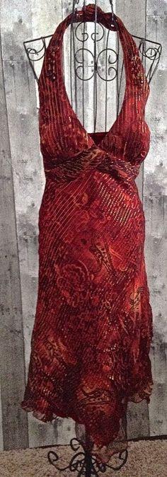 Cache Beaded Metallic Dress Halter Satin Fully Lined Paisley Bra Size 4 #Cache #Dress