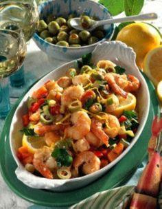 Gemüse und Garnelen aus dem Ofen