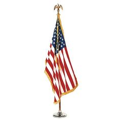 Annin Flagmakers' Colonial Nyl-Glo® 100% Nylon Indoor Set includes a Fringed or Unfringed Flag, Pole, Stand, and Eagle for a visually impressive display. #TheFireStore #America #UnitedStatesFlag