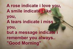 Роза показывает, что я люблю тебя. Улыбка показывает, что ты мне нравишься. Слезы говорят, что я скучаю по тебе. Но сообщение означает, что я всегда помню тебя.