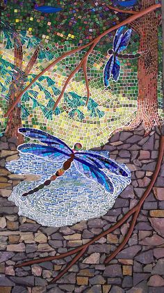 """Leavitt Pond at Dusk by Lee Ann Petropoulos 24"""" X 36""""  slate, polymer clay, stained glass, mirror and vitreous glass on Wedi"""