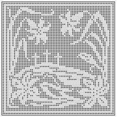 Free chart of a scene with three crosses on a hill, with lilies in the foreground, for filet crochet or cross stitch. Filet Crochet Charts, Crochet Cross, Crochet Home, Thread Crochet, Crochet Stitches, Free Crochet, Knit Crochet, Crochet Borders, Crochet Squares