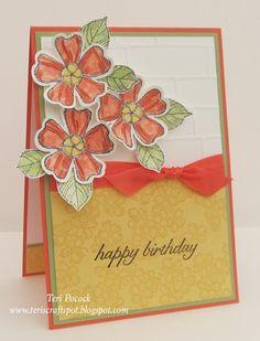 Stamping' Up! - More - Pretty Birthday Blossoms .... Teri Pocock - http://teriscraftspot.blogspot.co.uk/2015/06/more-pretty-birthday-blossoms.html