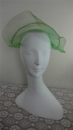CHARMING Vtg SOUTHERN BELLE Pale Green Straw Hat NEEDS TLC #Church
