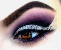Dark Purple and silver glitter smokey cut crease #eyes #eye #makeup #bright #glitter #dramatic #dark