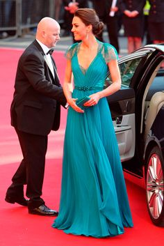 Kate Middleton in a teal Jenny Packham gown.