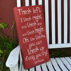 Think left and think right Dr. Suess quote by GrabersGraphics, $45.00