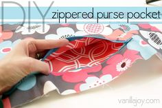 How to sew this easy zippered pocket into your purses and handbags. - by vanillajoy