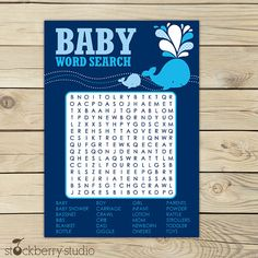 Whale Baby Shower Navy Blue Printable Word by stockberrystudio, $5.00