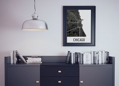 Chicago IL Map, Art, Print, Poster, Wall Art.