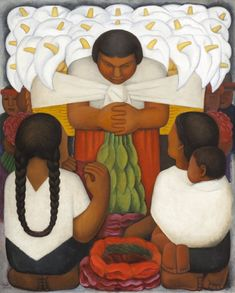 'Flower Day' is the first of Rivera's depictions of flower sellers. Here are three facts you might not know about this powerful painting. Diego Rivera Art, Diego Rivera Frida Kahlo, New York Flower, Buy Prints Online, Cubist Paintings, Art In The Age, Indianapolis Museum, Chalk Pastels, Expo