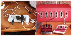 There are lots of little ways to tidy up your cords, like this little charging station.