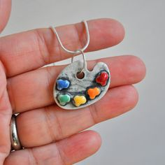 Artist's Pallette Porcelain Necklace with Rainbow by chARiTyelise