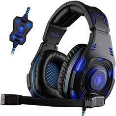 Cool SADES SA907 7.1 USB Wired Surround Sound Over-ear Professional Stereo WCG Gaming Headset Headband Headphones with Hifi Microphone Multi-function Control Remote Noise-canceling Leather earmuffs Cool Blue LED Lighting with two modes(black)